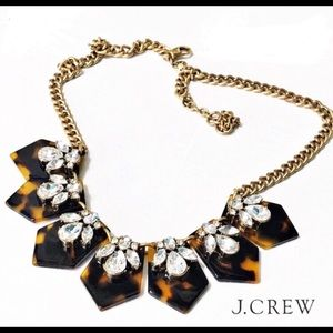 J CREW tortoise and crystal necklace on gold chain